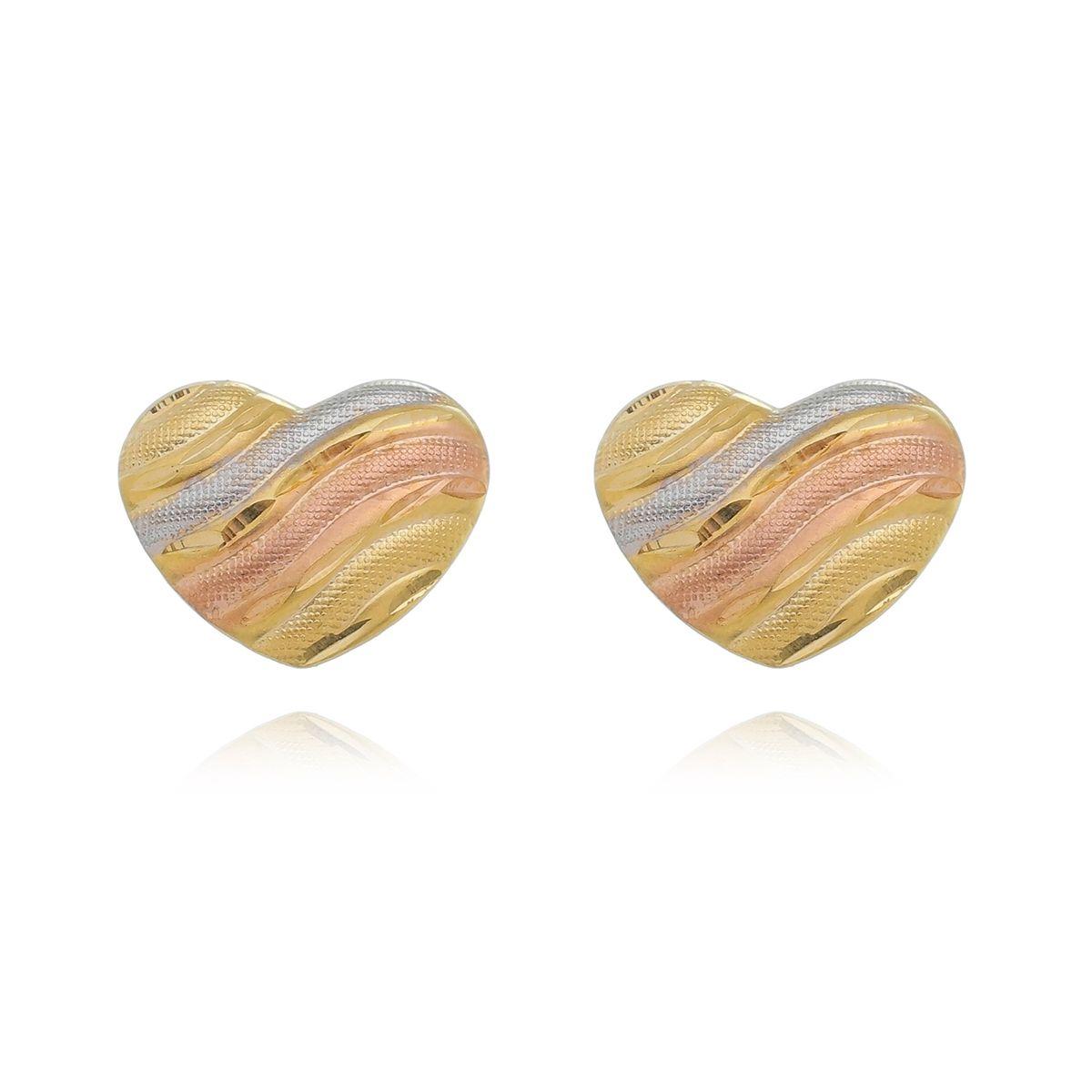 Brinco Coração Cartilhado Diamantado Três Cores Banhado a Ouro 18K