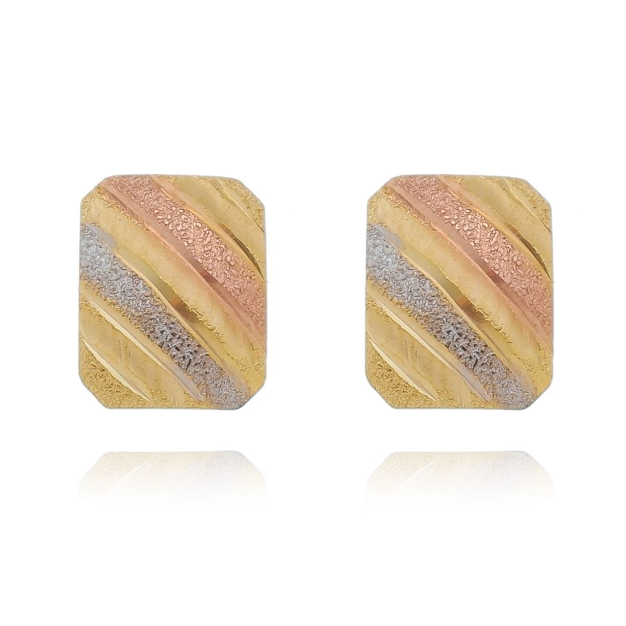 Brinco Diamantado Quadrado Abaulado Três Cores Banhado a Ouro 18K