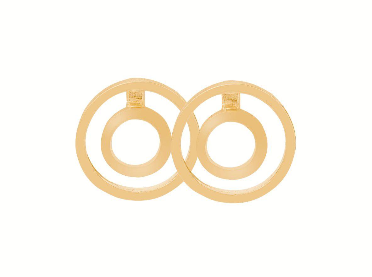 Brinco Dois Círculos Dourado Banhado a Ouro 18k