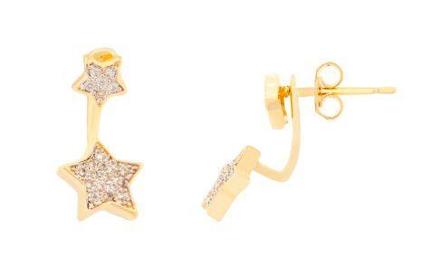 Brinco 2x1 Estrelas Cravejadas Banhado a Ouro 18k