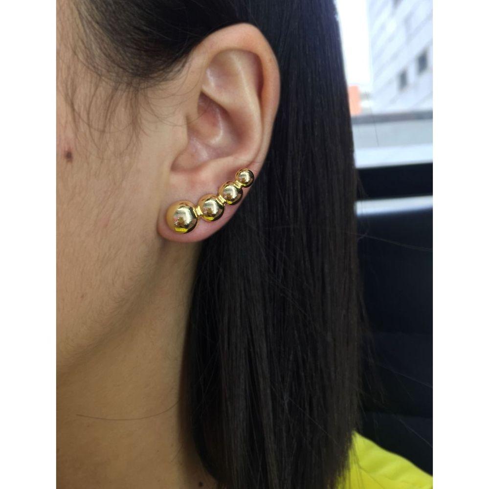 Brinco Ear Cuff Bola Lisa Dourada Banhada a Ouro 18k