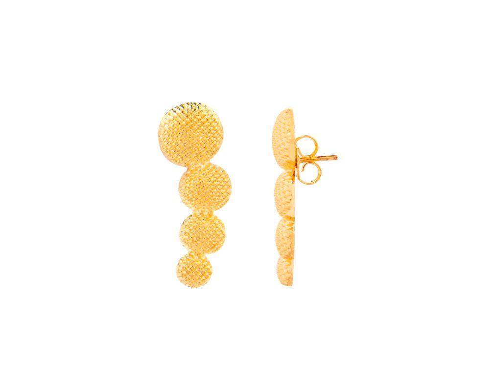 Brinco Ear Cuff Bola Craquelado Dourado Banhado a Ouro 18k