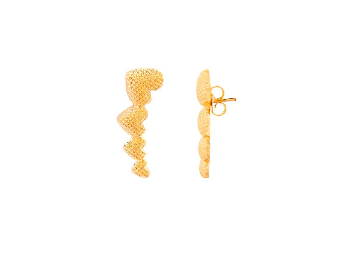 Brinco Ear Cuff Coração Craquelado Dourado Banhado a Ouro 18k