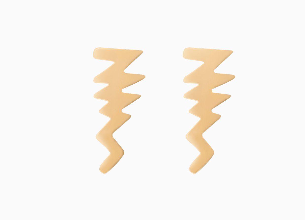 Brinco Ear Cuff Raio Liso Dourado Banhado a Ouro 18k