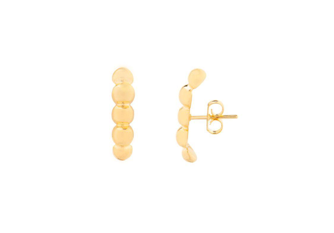 Brinco Ear Hook Bolinhas Douradas Banhado a Ouro 18k