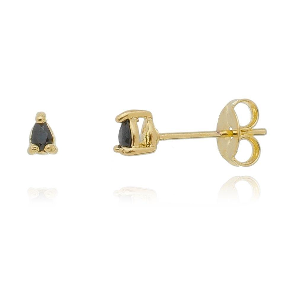 Brinco Mini Triangulo Zirconia Preta Banhado a Ouro 18K