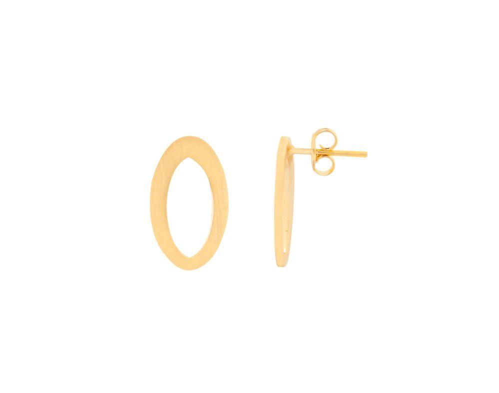 Brinco Oval Fosco Vazado Dourado Banhado a Ouro 18k