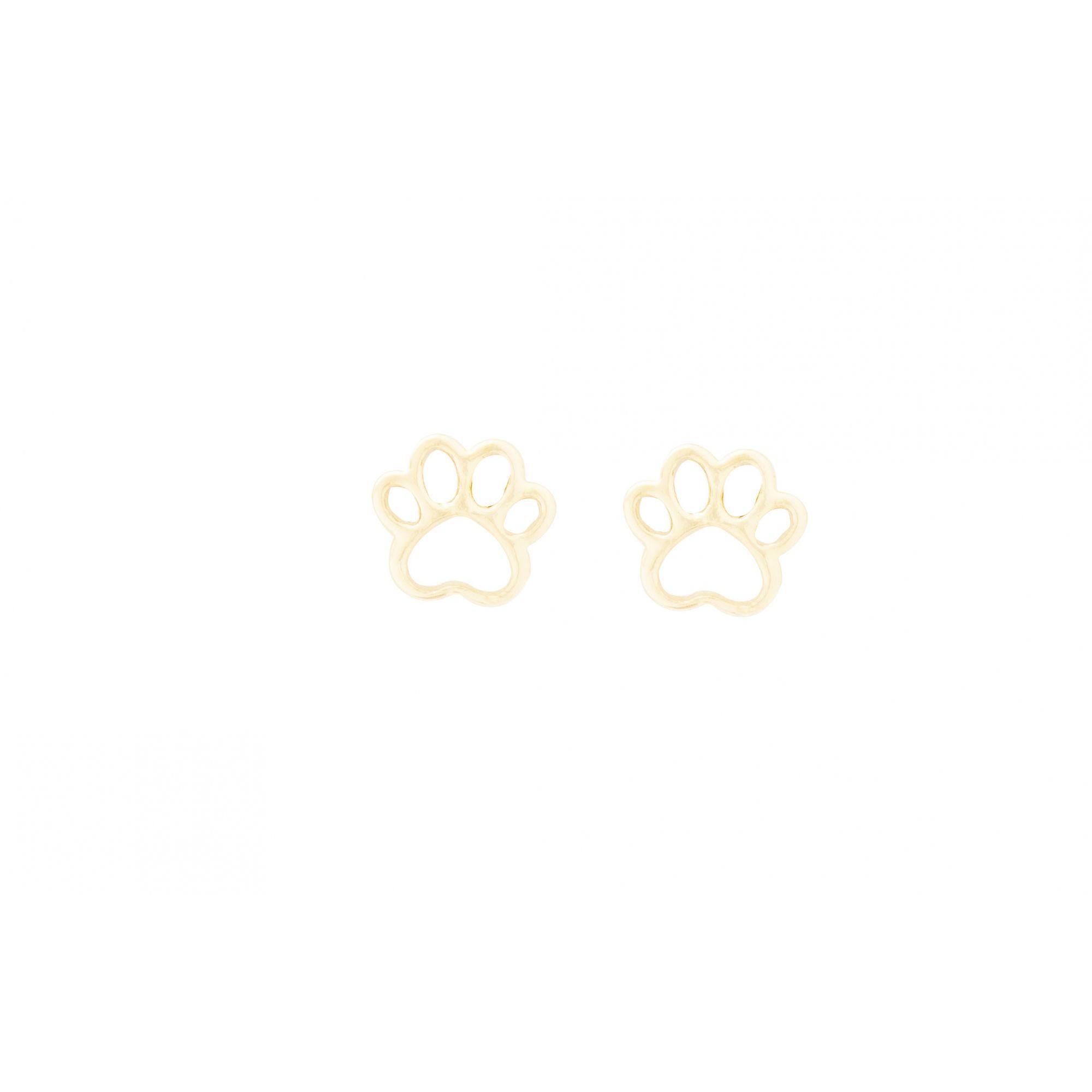Brinco Patinha de Cachorro Banhado a Ouro 18k
