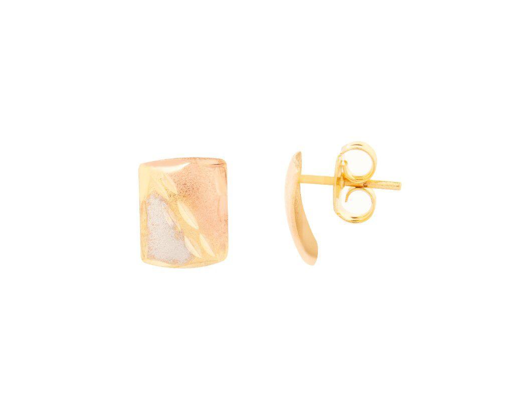 Brinco Quadradinho Pequeno Diamantado Três Cores Banhado a Ouro 18k