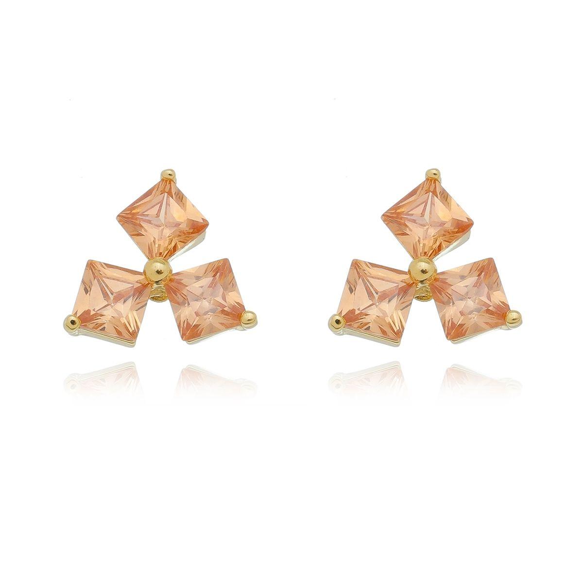 Brinco Triangulo de Zirconia Tangerina Banhado a Ouro 18K