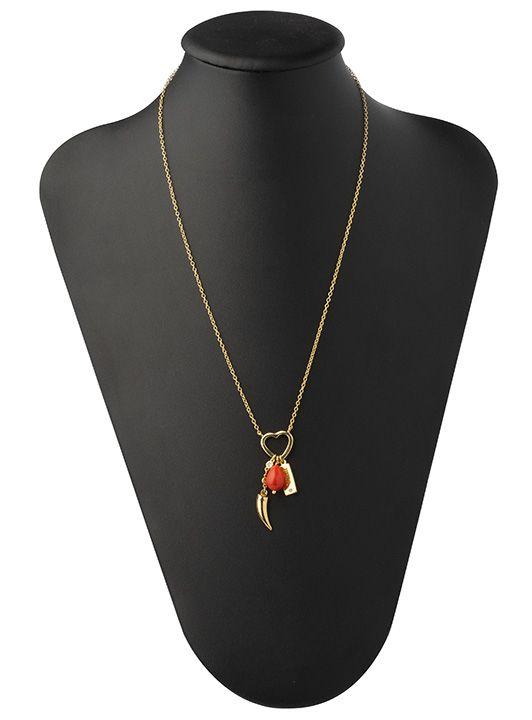 Colar Coração Vazado Pingente Vida Dente De Sabre Pedra Tangerina Banhado a Ouro 18K