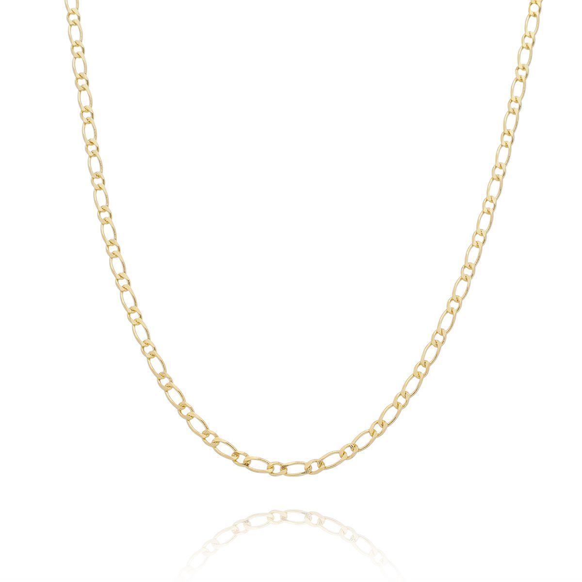 Corrente 1x1 Diamantada 45cm Banhada a Ouro 18K