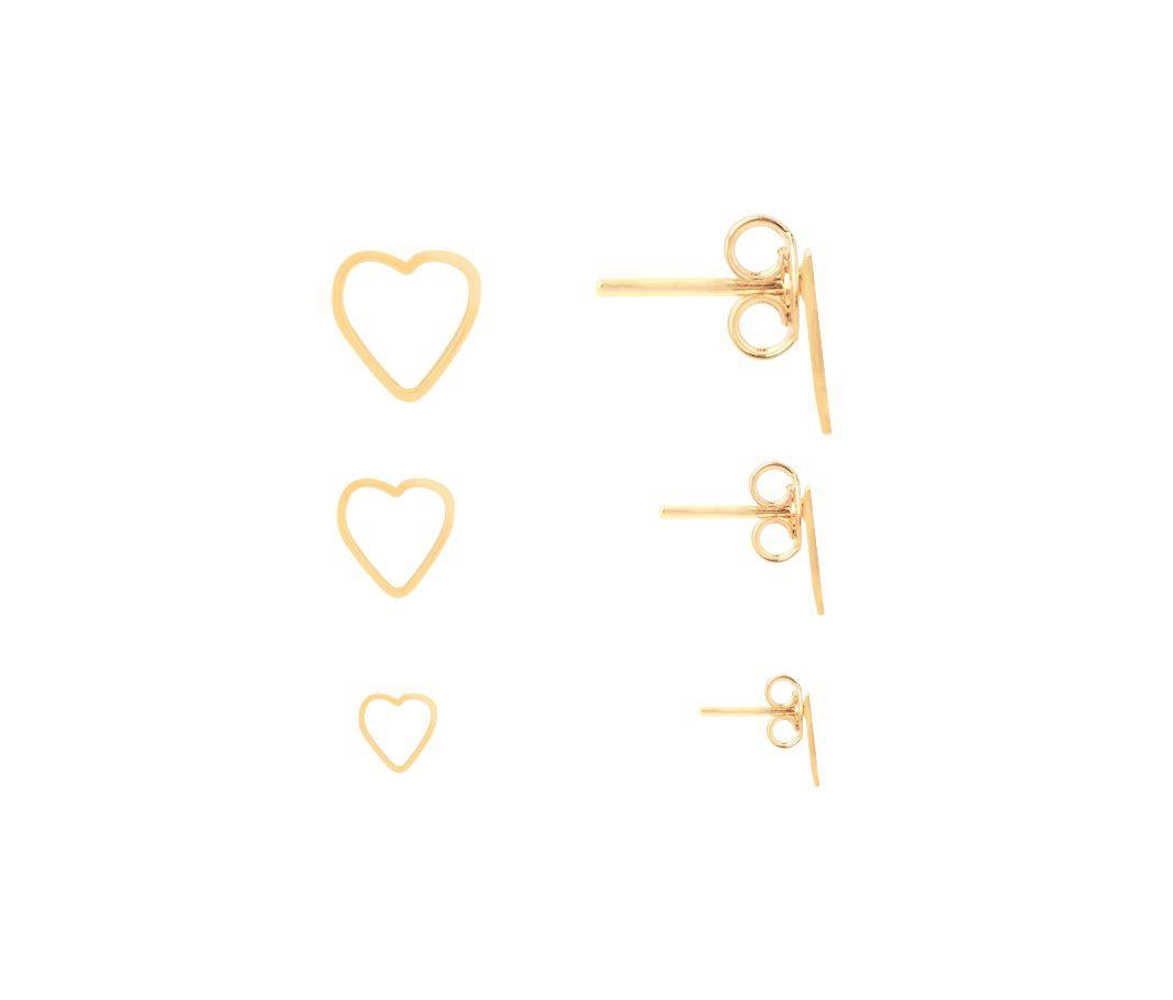 Kit Brinco Coração Vazado Banhado a Ouro 18k
