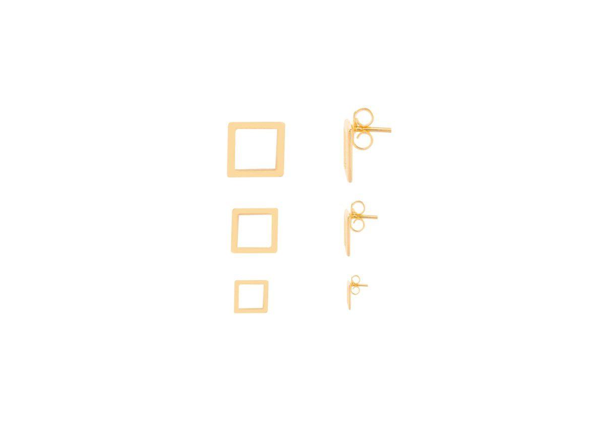 Kit Brinco Quadrado Vazado Banhado a Ouro 18k