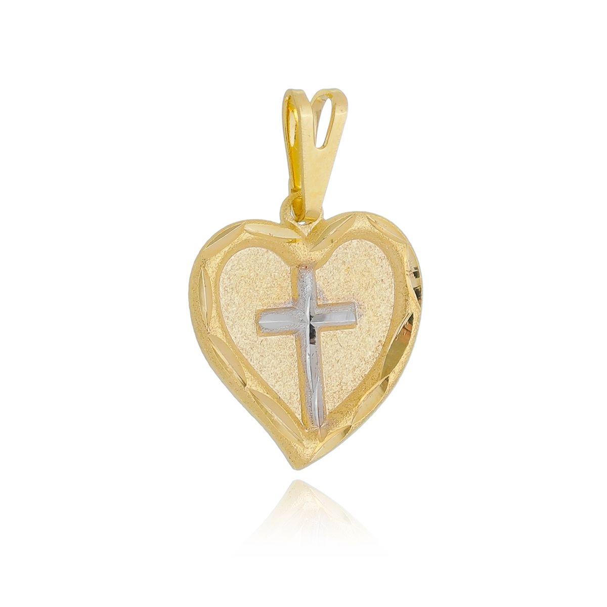 Pingente Coração Cruz Banhado a Ouro 18K