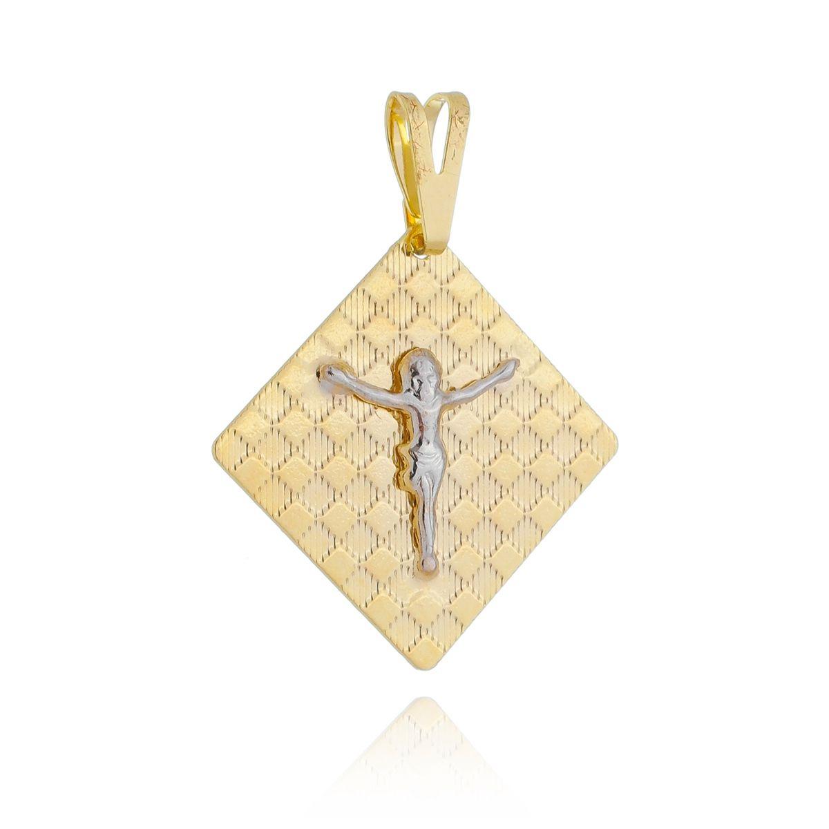 Pingente Placa Crucifixo Banhado a Ouro 18K