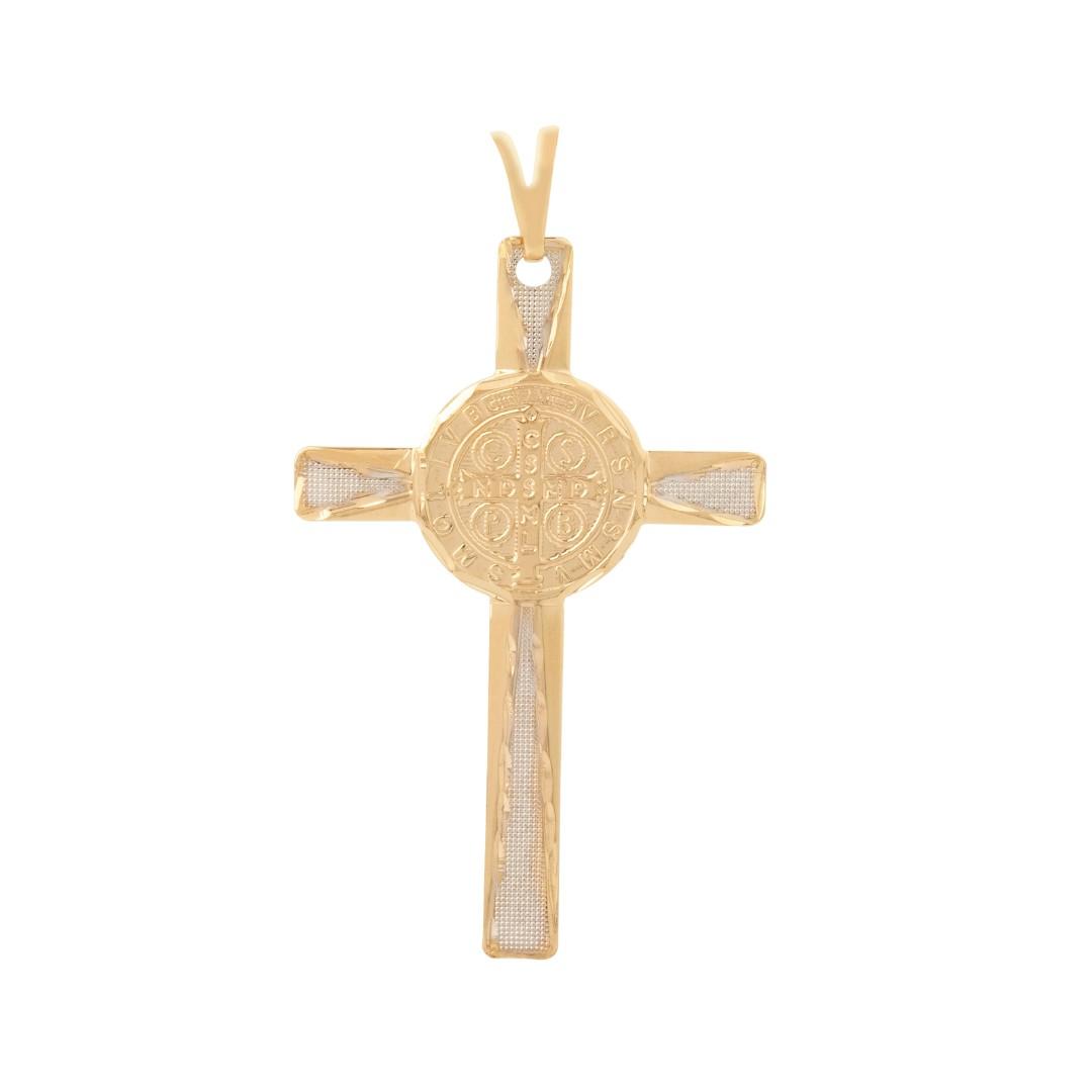 Pingente Cruz De São Bento Banhado a Ouro 18k