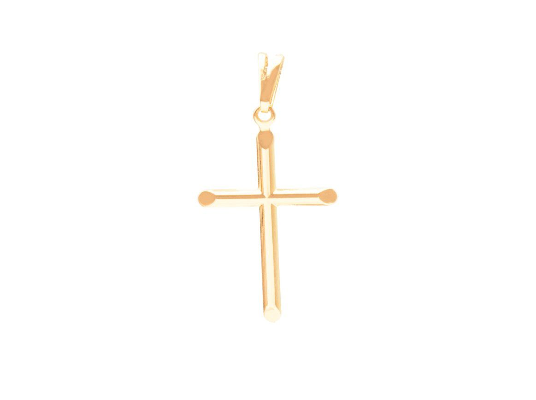 Pingente Cruz Dourada Lisa Banhada a Ouro 18k