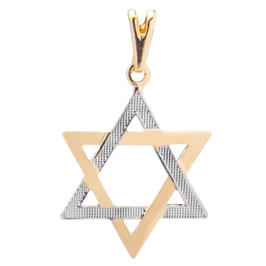 Pingente Estrela de Davi Duas Cores Banhado a Ouro 18k