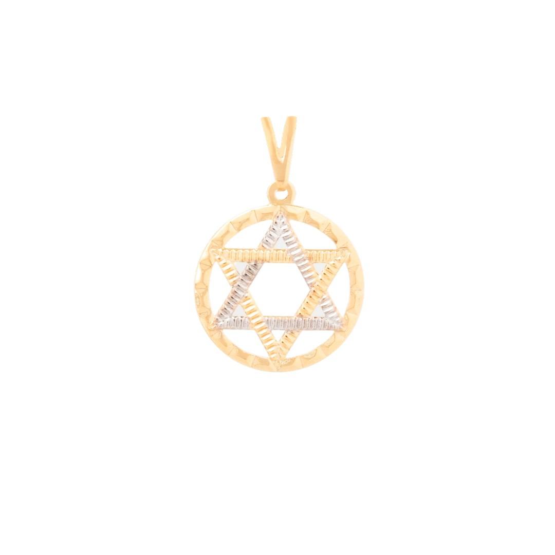 Pingente Estrela De Davi Vazada Circulo Banhado a Ouro 18k
