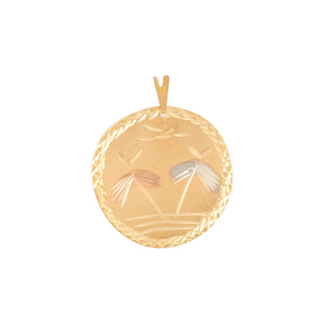 Pingente Mandala Coqueiro Diamantada Três Cores Banhado a Ouro 18k
