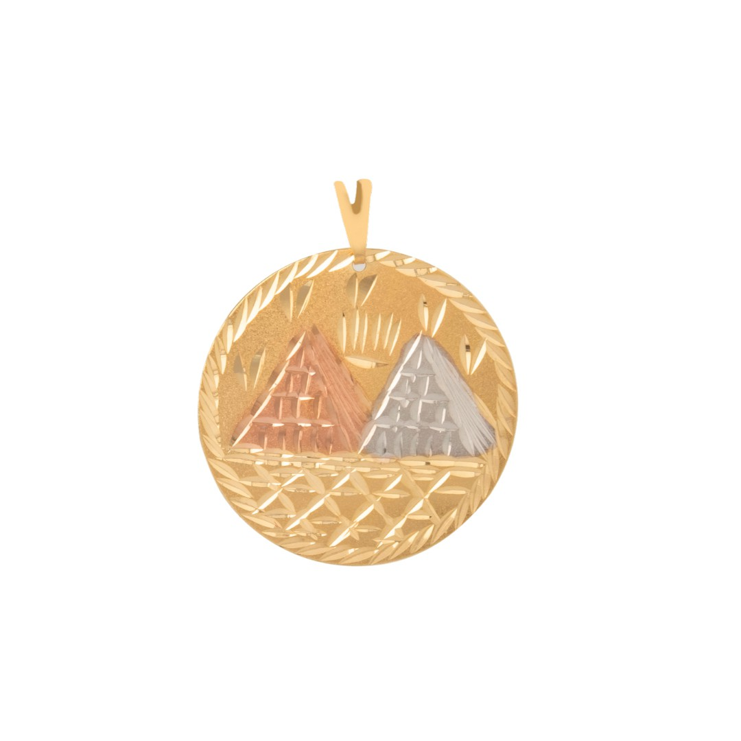 Pingente Mandala Egito Três Cores Banhado a Ouro 18k