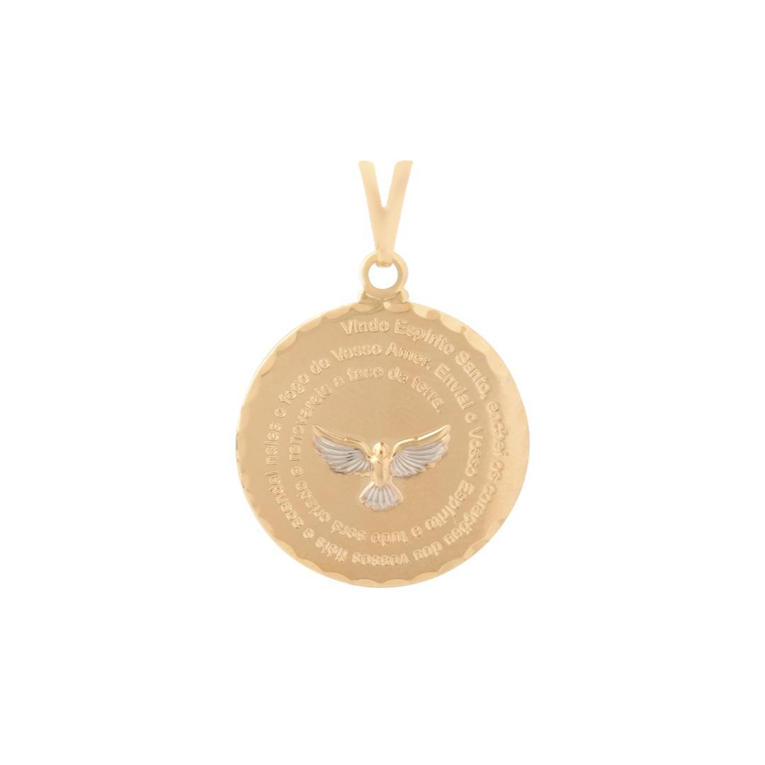 Pingente Mandala Oração Espírito Santo Banhado a Ouro 18k