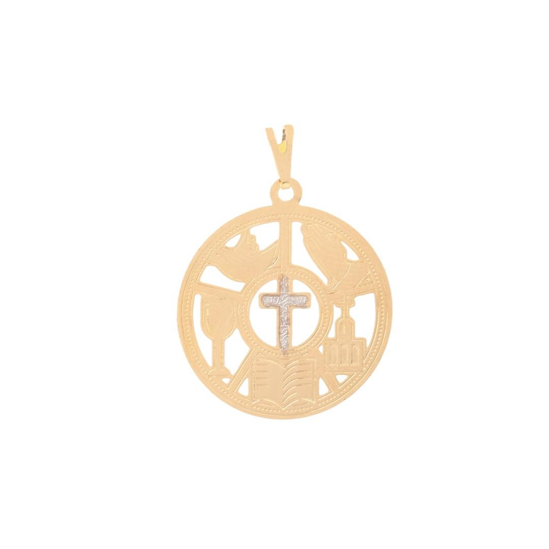 Pingente Mandala Religiosa Cruz Banhado a Ouro 18k