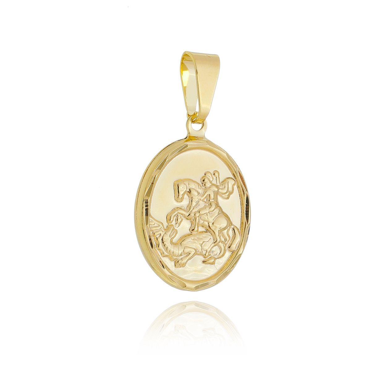 Pingente Medalha São Jorge Borda Diamantada Banhado Ouro 18K