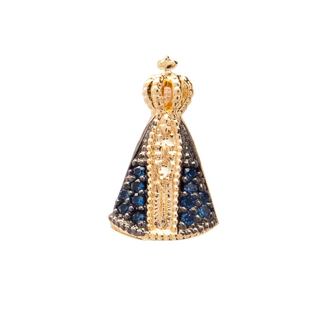 Pingente Nano Nossa Senhora Aparecida Com Zircônia Azul Banhado a Ouro 18k