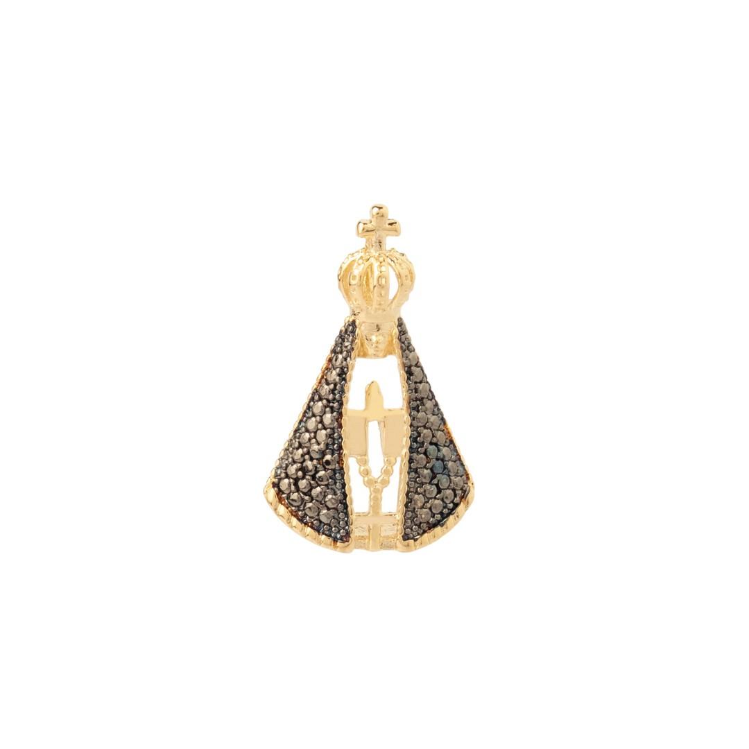 Pingente Nossa Senhora Aparecida Com Zircônia Preta Grande Banhado a Ouro 18k