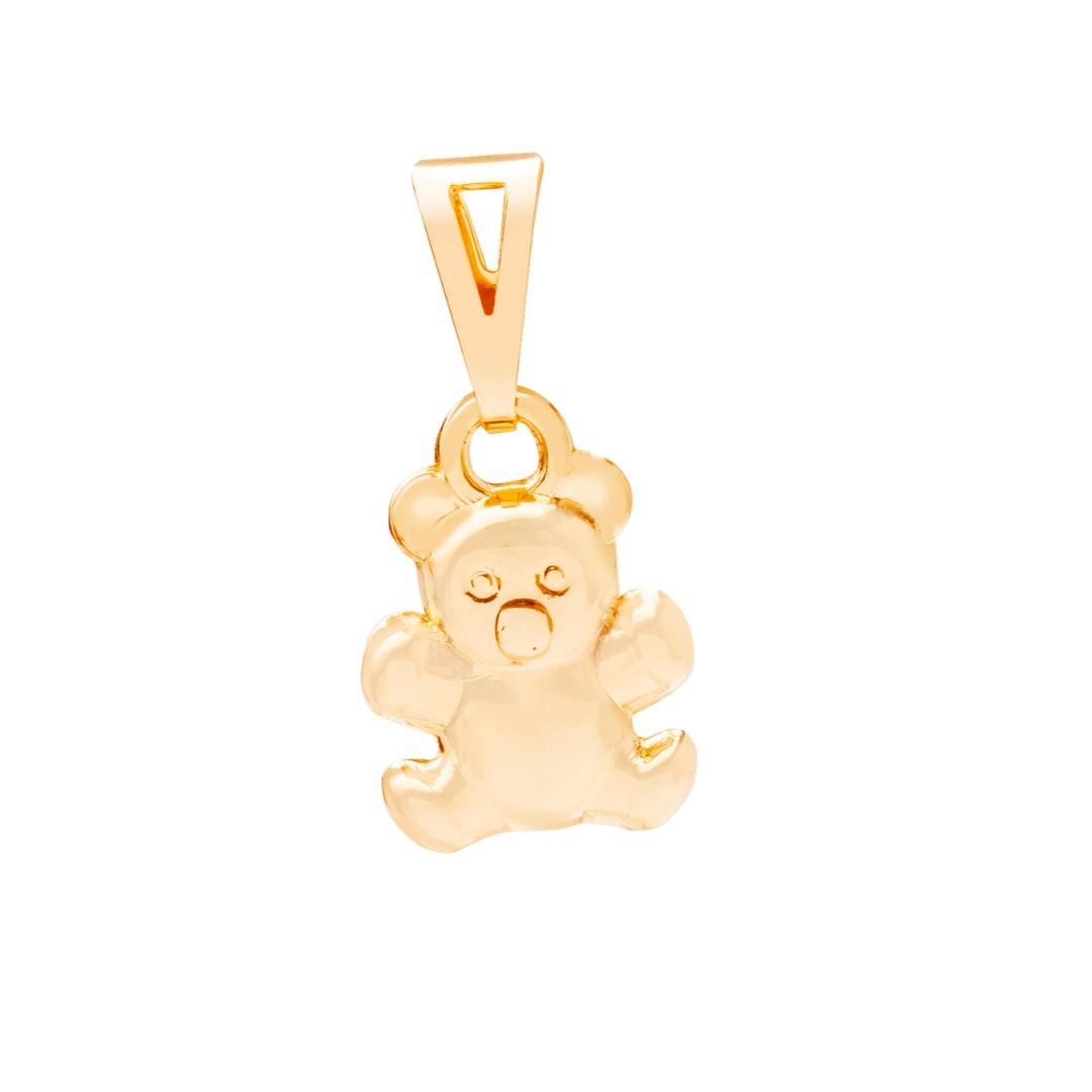 Pingente Urso Liso Dourado Banhado a Ouro 18k
