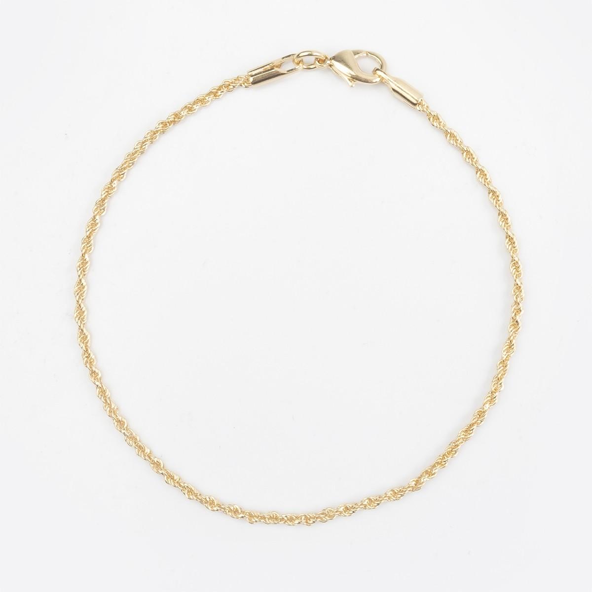Pulseira Cordão Baiano fino 18 cm banhado a ouro 18k