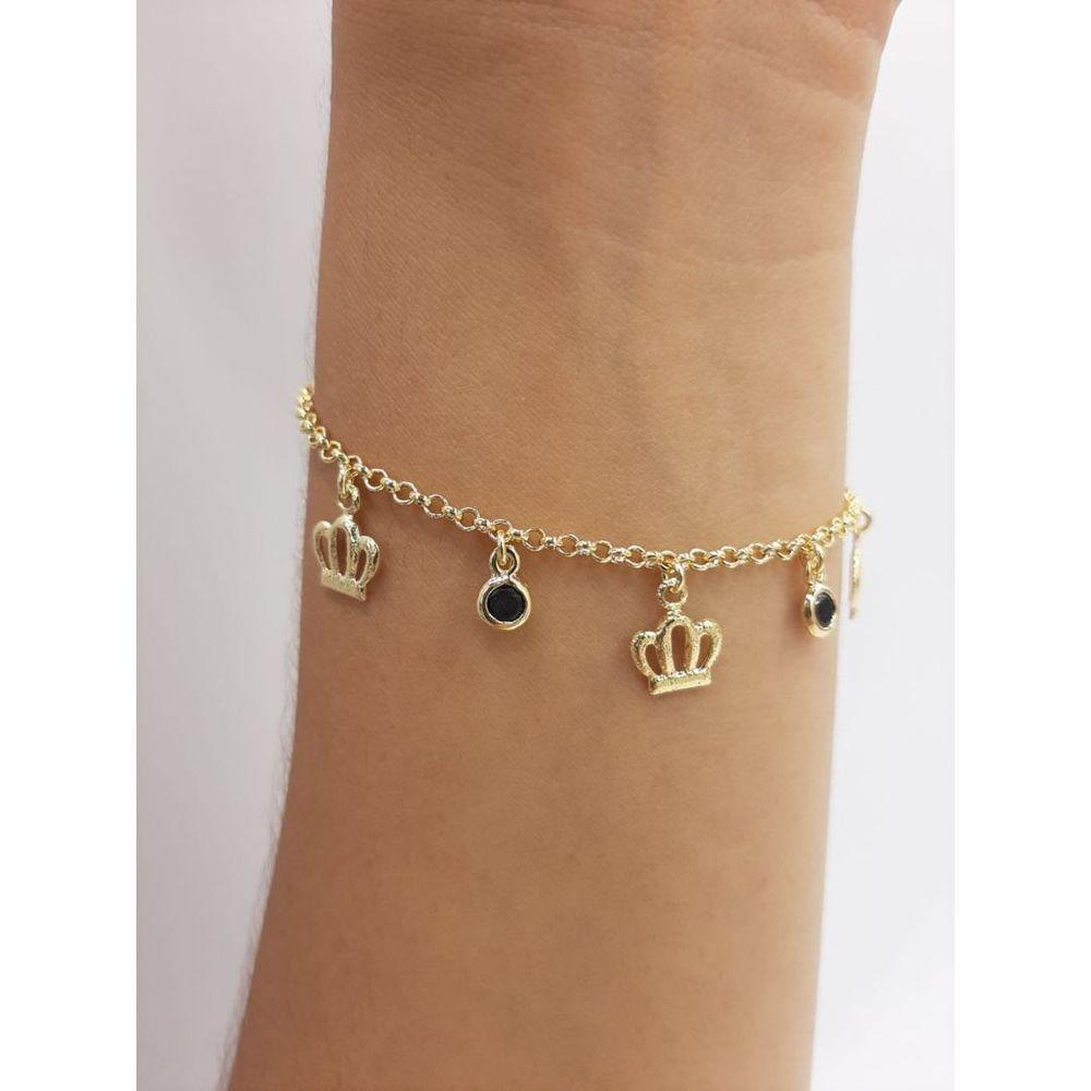 Pulseira Infantil com Pingente / Berloque de Coroa com Zircônia Banhada a Ouro 18k