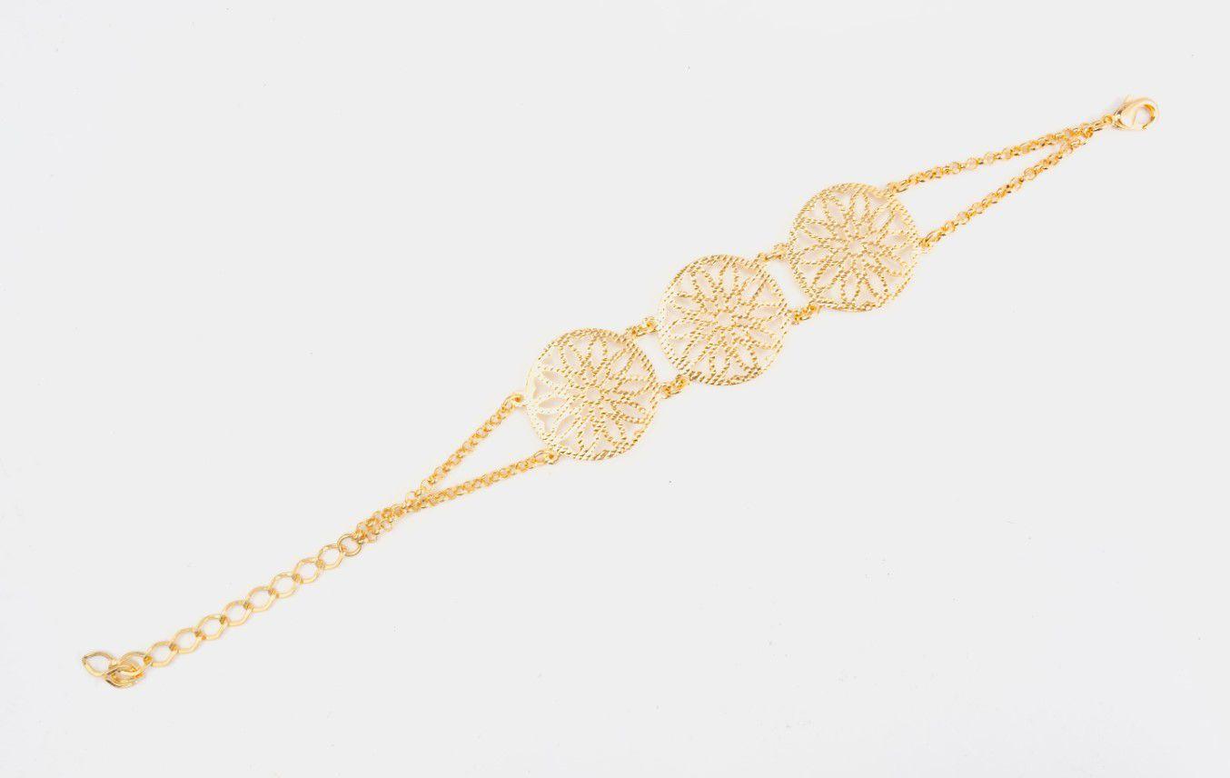 Pulseira Flor Trabalhada Banhada a Ouro 18k