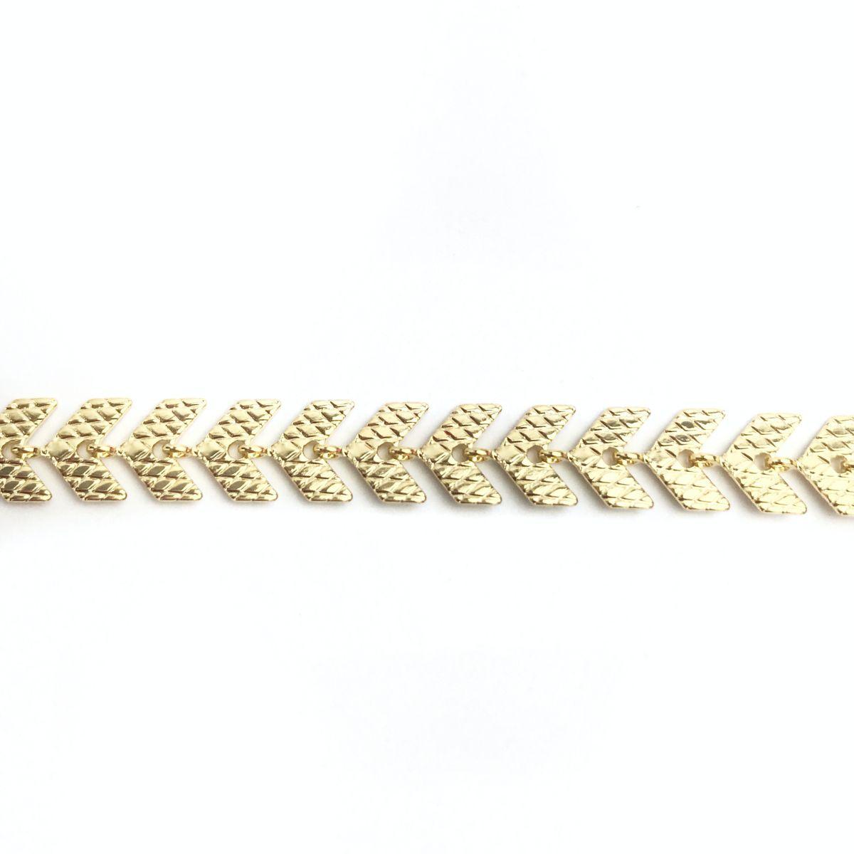 Pulseira Seta Contínua Fosca Banhada a Ouro 18k