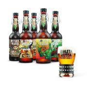 Kit degustação Roleta Russa 5 cervejas 500ml + copo 320ml com pulseira