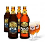 Kit presente Edelbrau 4 cervejas 600ml + 2 copos Windsor