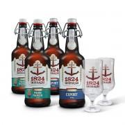 Kit presente Imigração 4 cervejas 500 ml + 2 copos Hannover