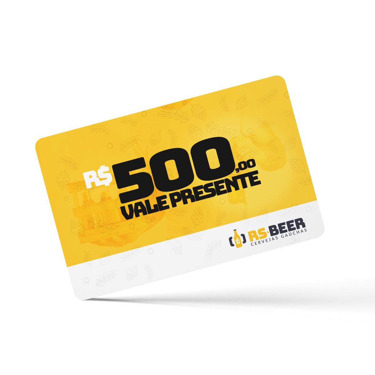 Cartão Vale Presente virtual de R$ 500,00