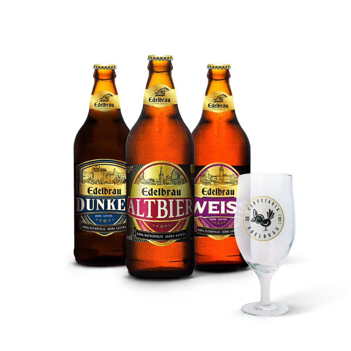 Kit degustação Edelbrau 3 cervejas + copo Edelbrau Windsor