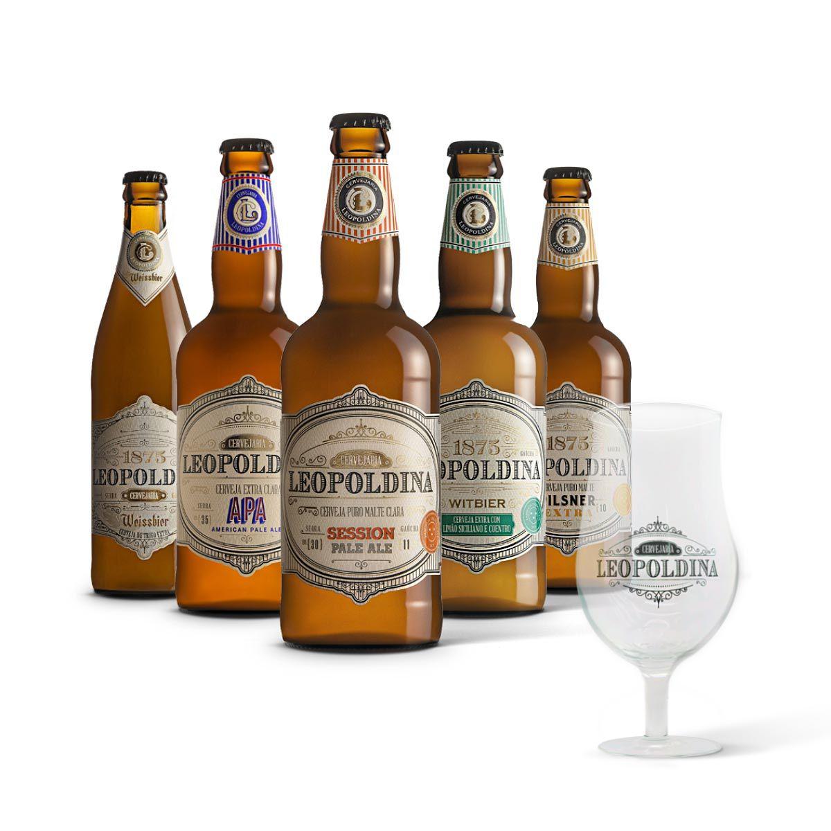 Kit degustação Leopoldina 5 cervejas + Taça Tulipa Leopoldina