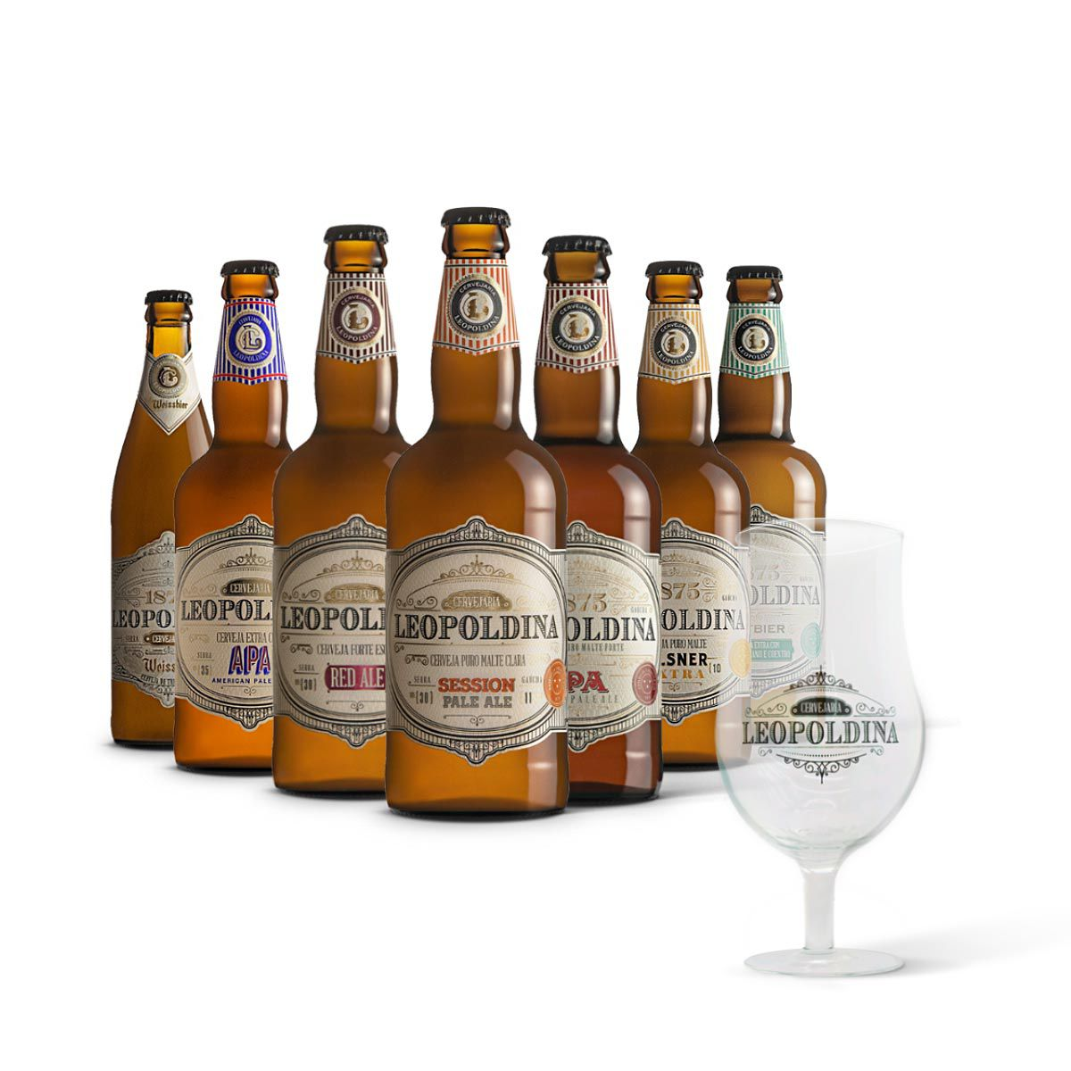 Kit degustação Leopoldina 7 cervejas + Brinde Taça Tulipa Leopoldina