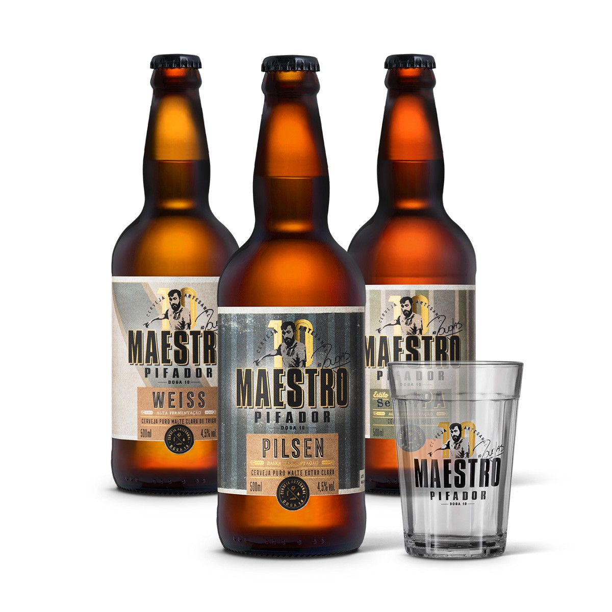 Kit degustação Maestro Pifador 3 cervejas 500ml + copo americano 300ml