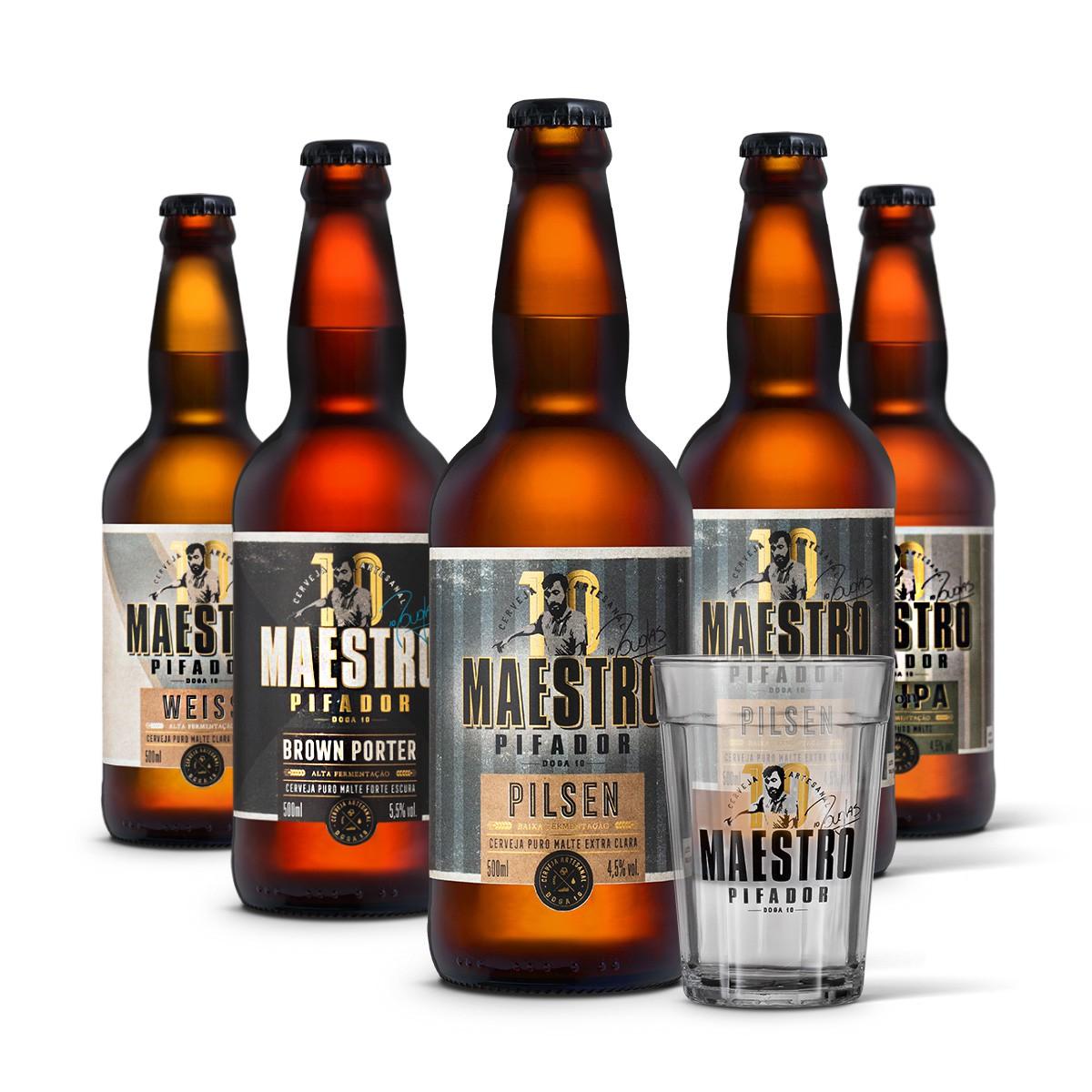 Kit degustação Maestro Pifador 5 cervejas 500ml + copo americano 300ml