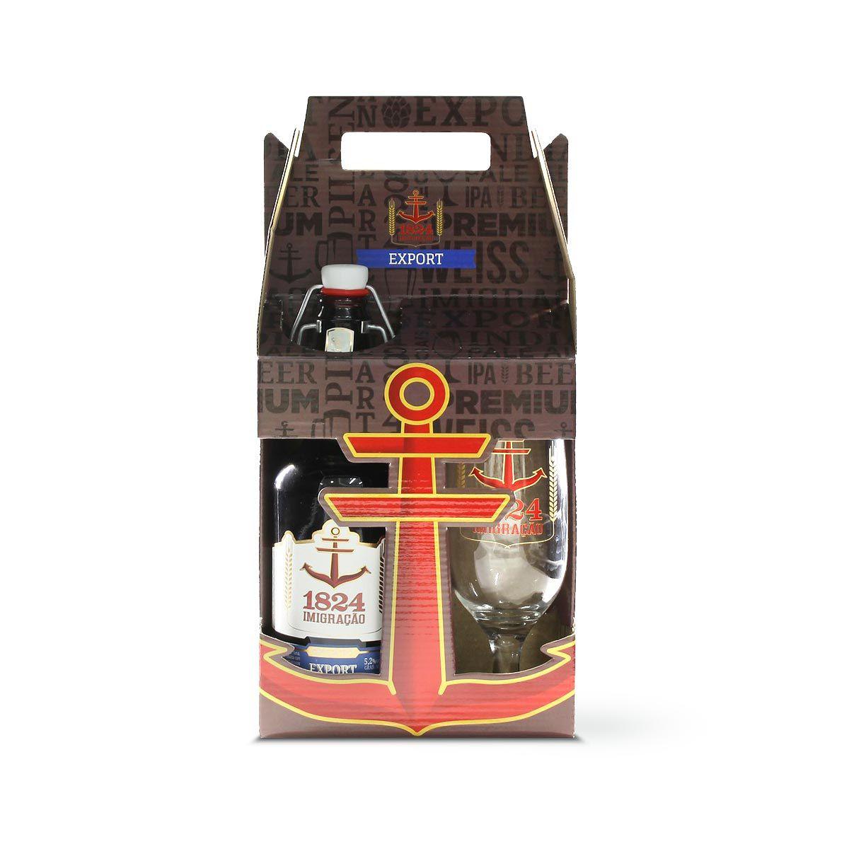 Kit presente cerveja Imigração Export 500 ml + copo Hannover