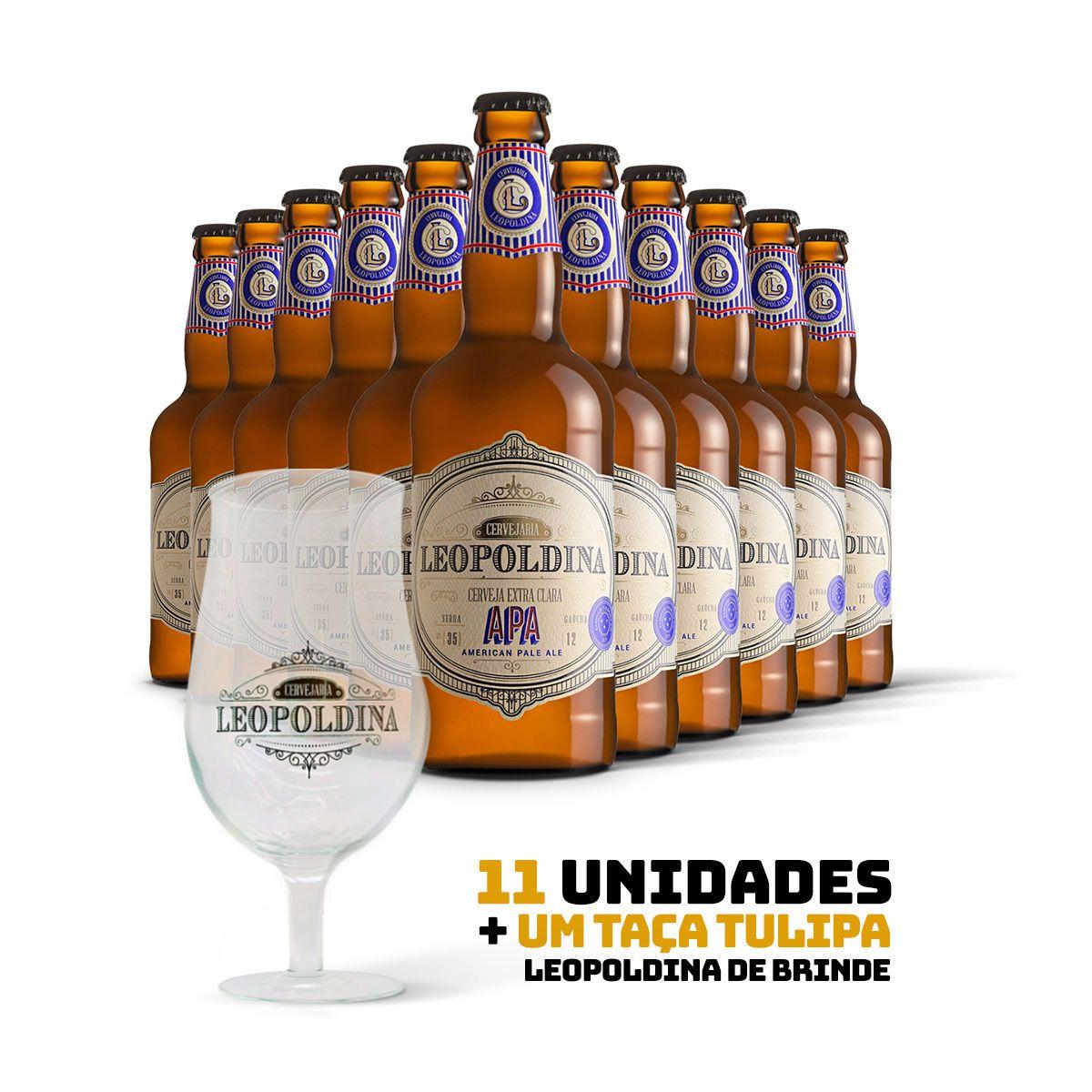 Kit Leopoldina American Pale Ale APA 500ml 11 cervejas + Brinde Taça Tulipa Leopoldina