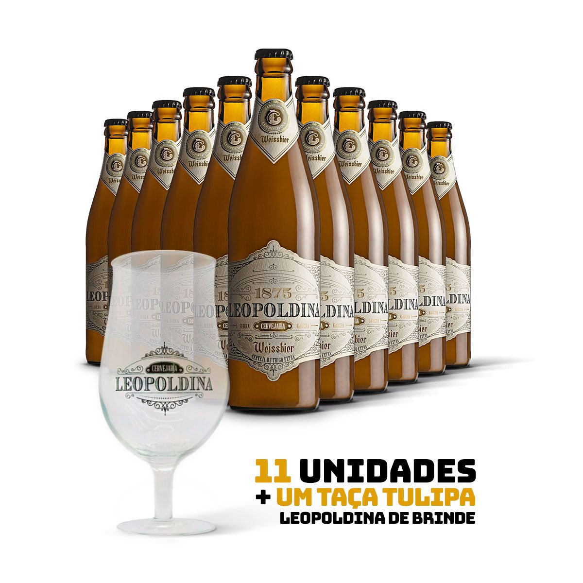 Kit Leopoldina Weissbier 500ml 11 cervejas + Brinde Taça Tulipa Leopoldina