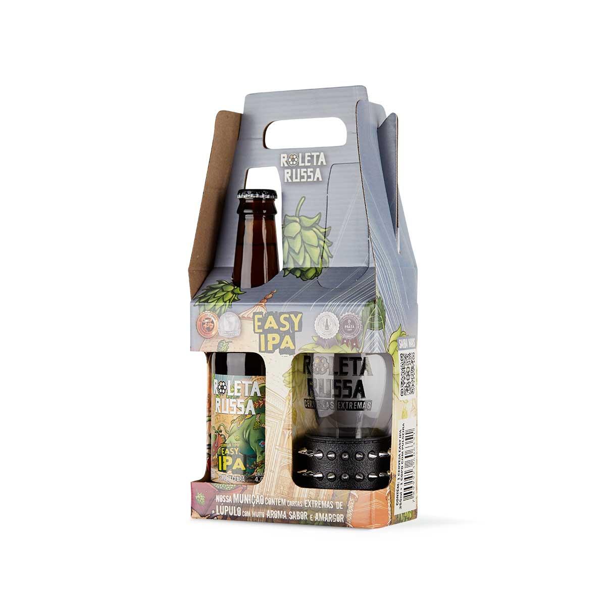 Kit presente cerveja Roleta Russa Easy IPA 355 ml + copo 320 ml com pulseira