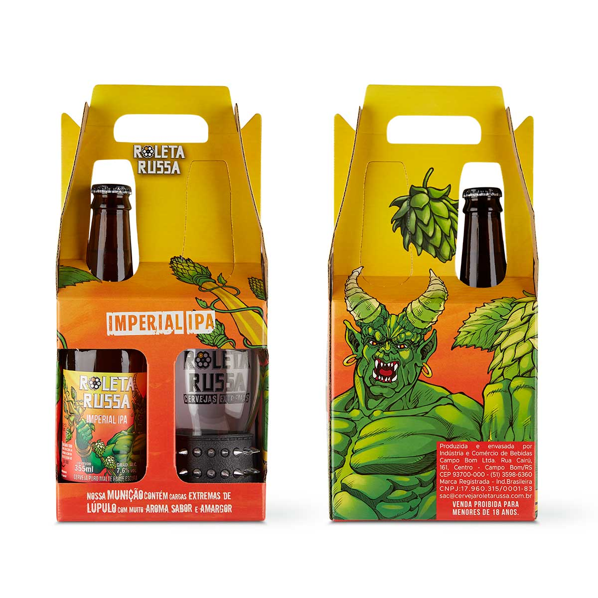 Kit presente cerveja Roleta Russa Imperial IPA 355 ml + copo 320 ml com pulseira